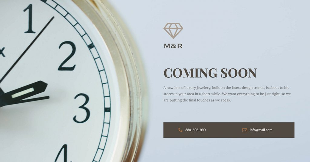 elementor coming soon template - clock