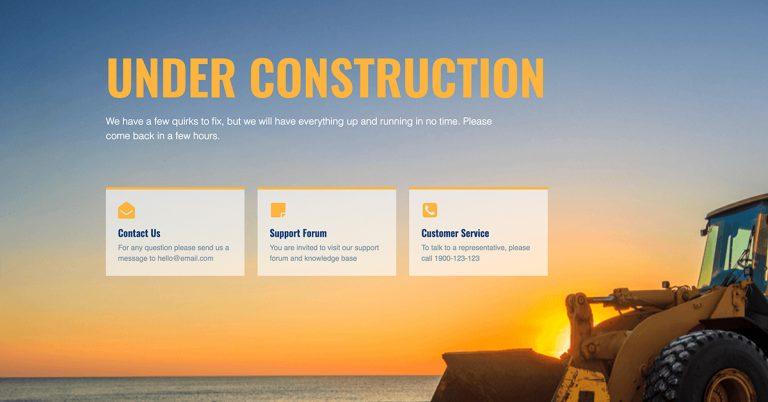 elementor under construction template - yellow