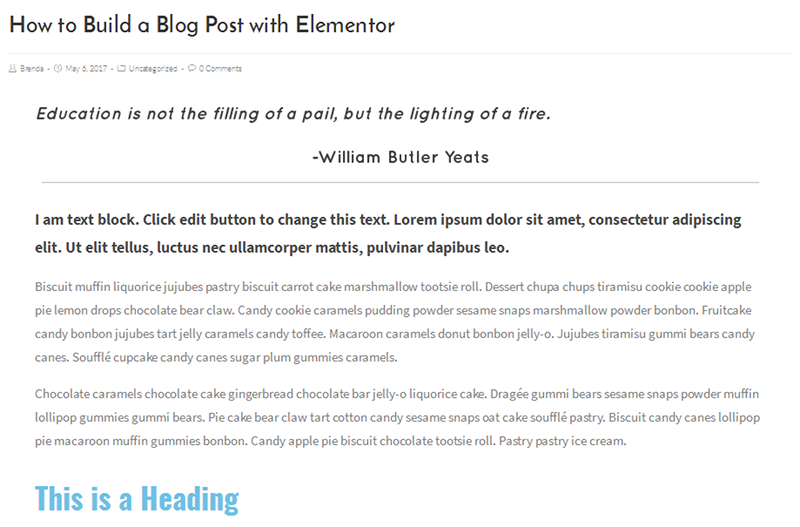 How to build a blog post with Elementor