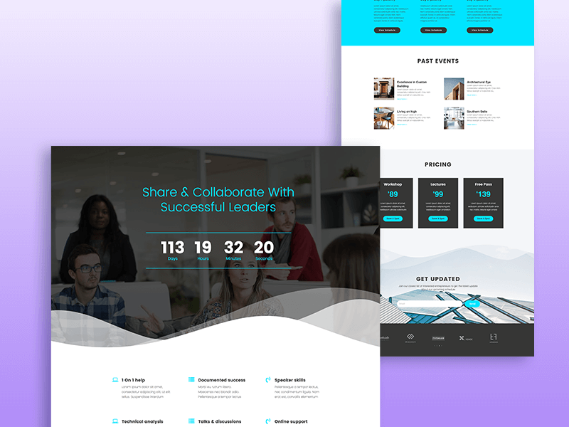 creative meetup one page template