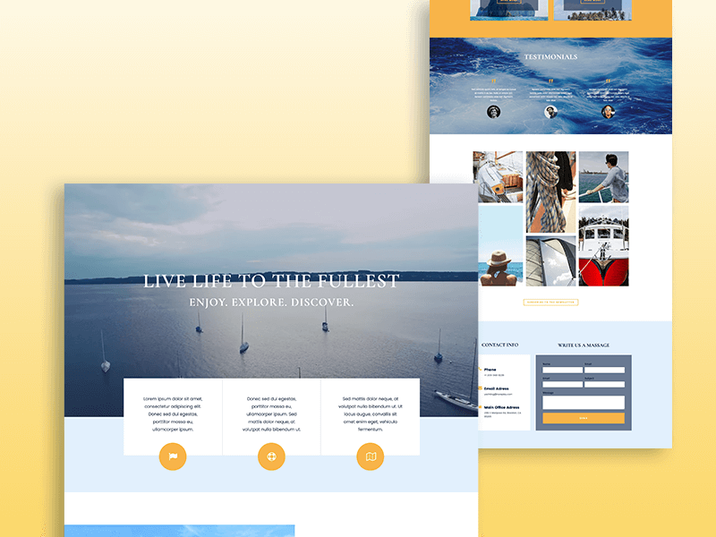 yacht one-page template