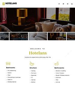 Hotel landing page template with image and video slideshow