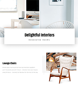 Interior design landing page template with carousel
