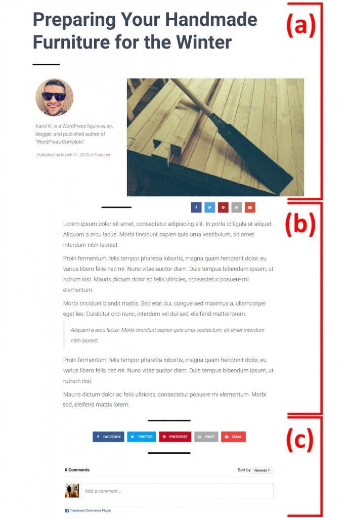 قسمت های مختلف یک قالب پست وبلاگ