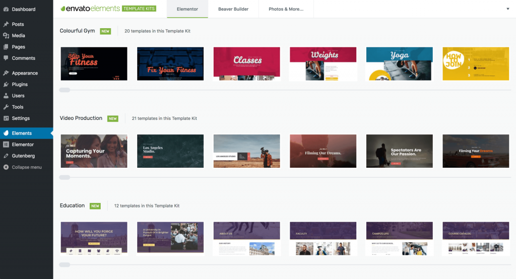 Envato Elements: Elementor Website & Landing Page Templates