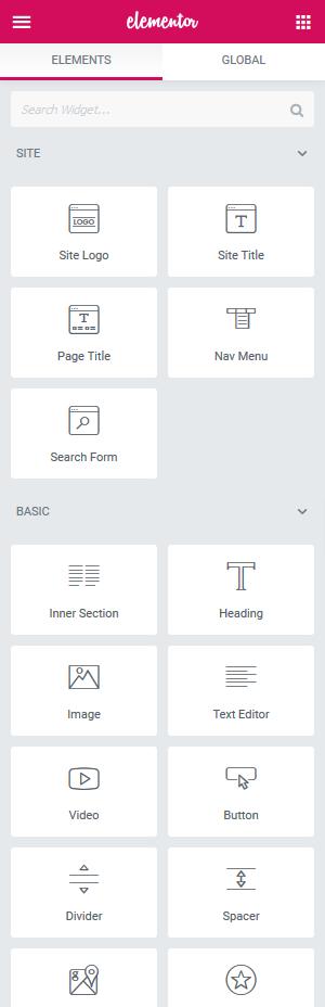 a screenshot of elementor's widgets
