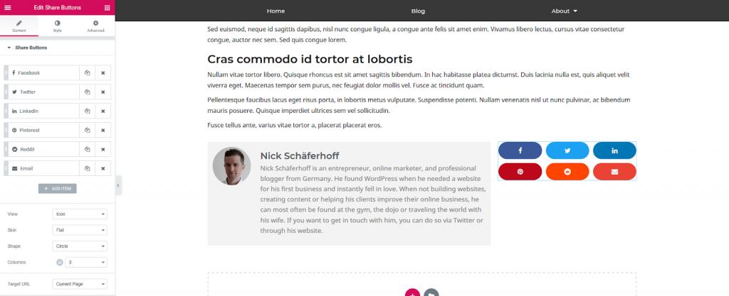 a screenshot of adding share buttons
