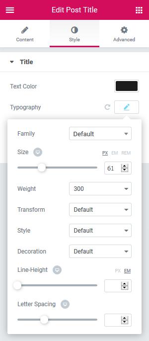 a screenshot of the elementor customizer