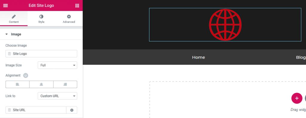 a screenshot of logo customization in elementor
