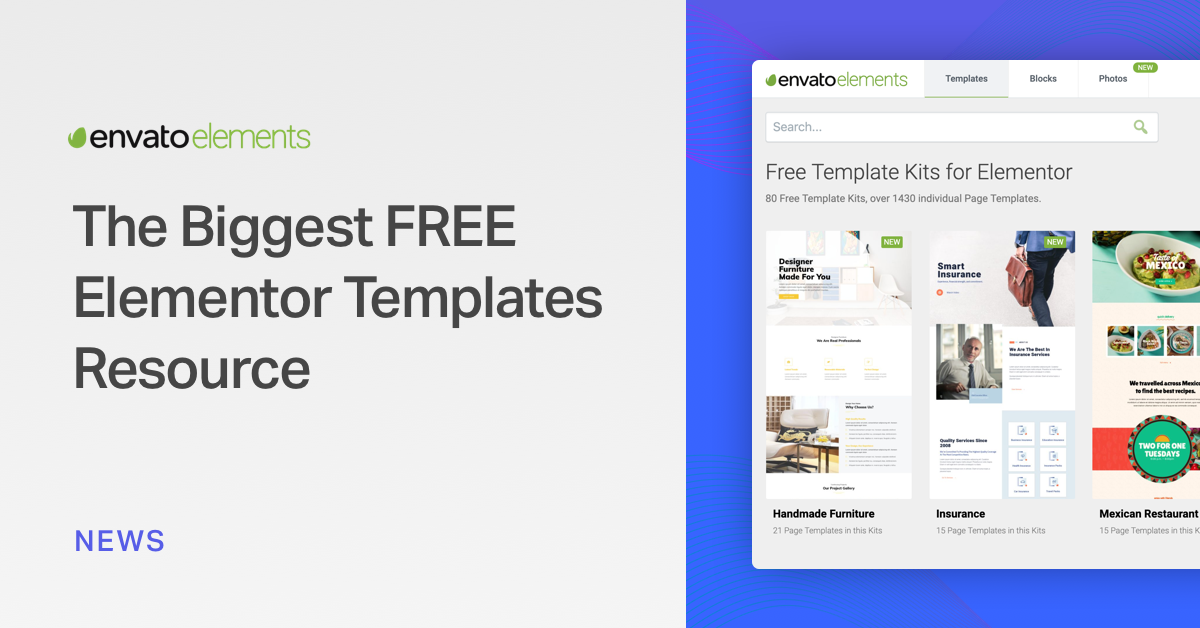 Envato Launches Elements The Biggest Free Elementor Template Resource Elementor