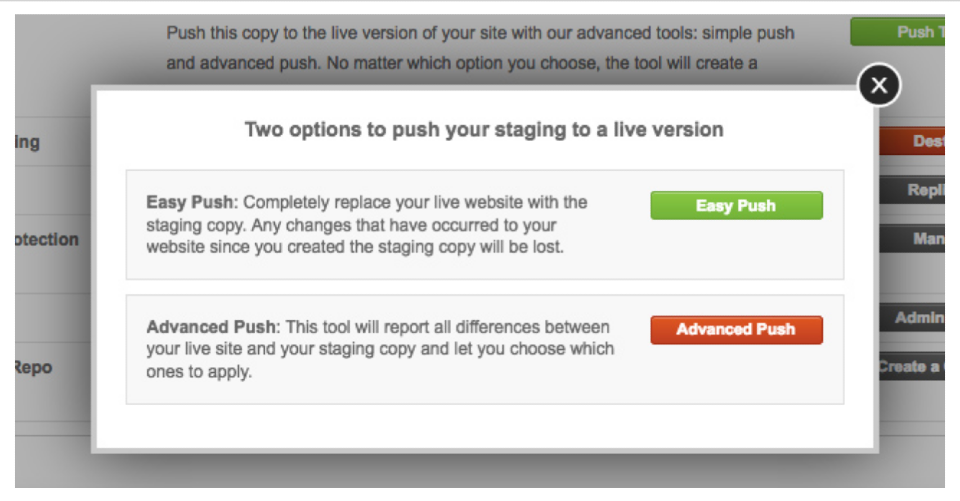 SiteGround staging Push live advanced wordpress site