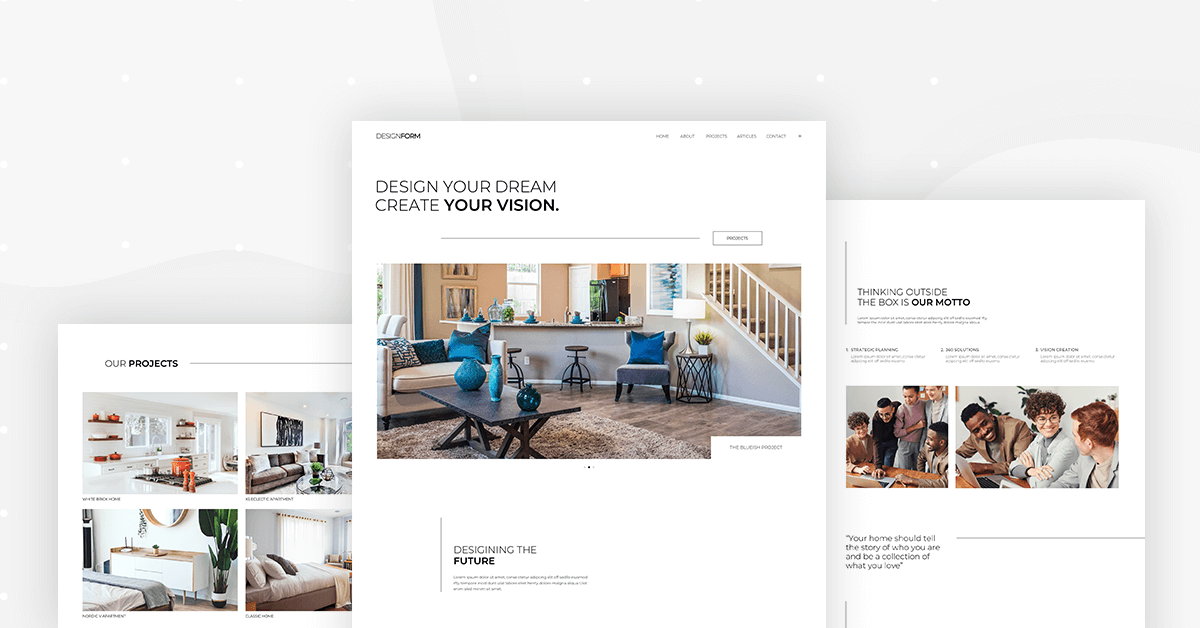 Monthly Template Kits 8 The Interior Design Template Kit Elementor