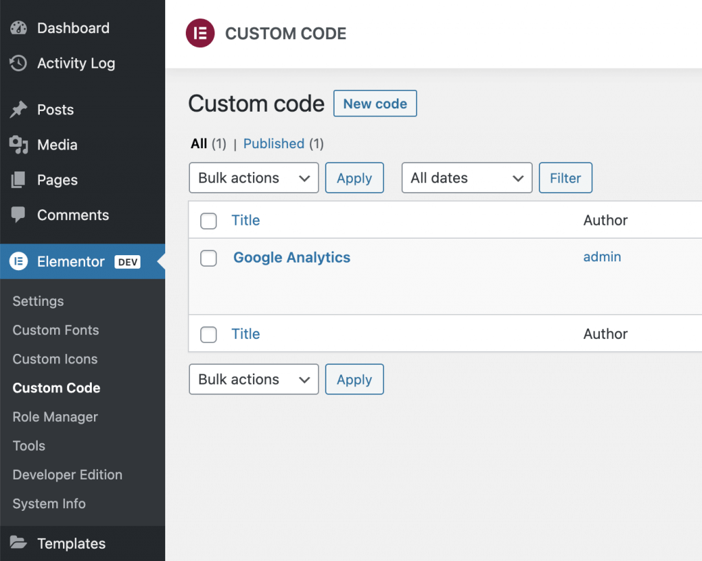 Custom Code Example