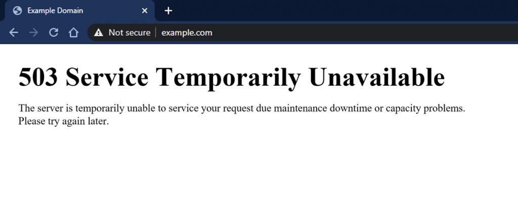 503 Service Temporarily Unavailable