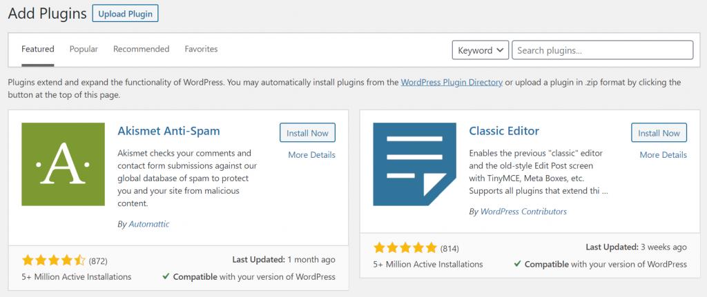 wordpress plugins — choosing and installing a wordpress plugin