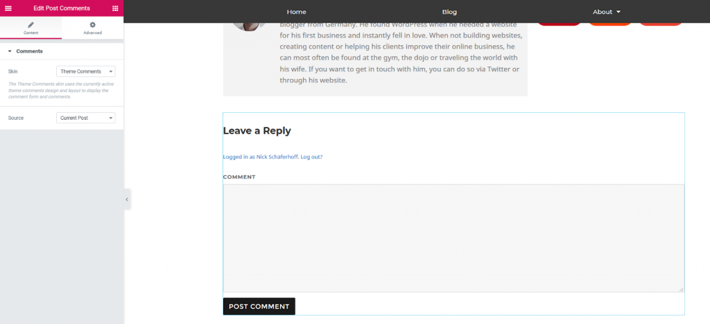 a screenshot of adding the post comments widget