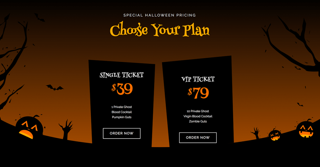 Halloween Pricing Page Example