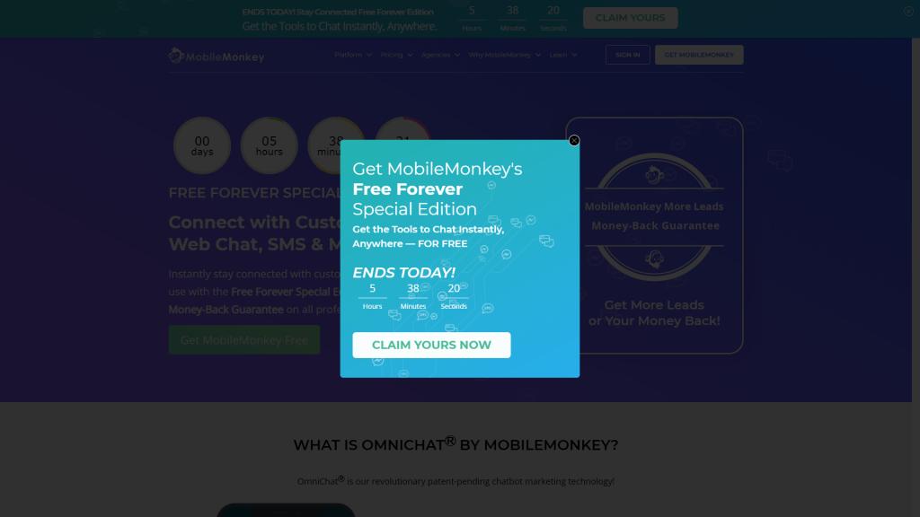 mobilemonkey popup