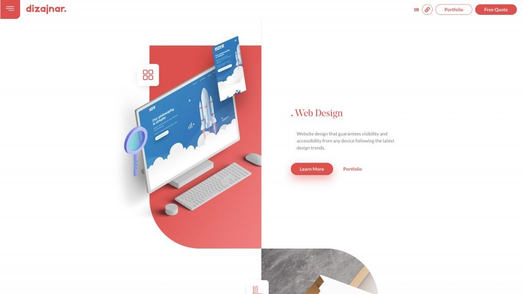 Dizanjar designed a gorgeous, animated landing page that shows the company's skills as graphic designers using Elementor.
