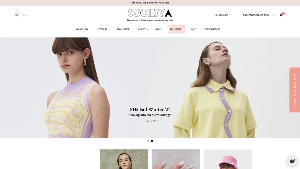Society A uses popups, clear navigation, contrasting colors, and an eye-catching shopping basket to encourage sales
