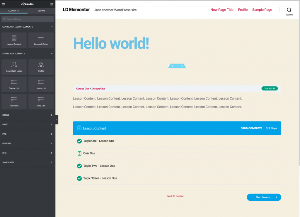 A preview of the LearnDash lesson template in Elementor
