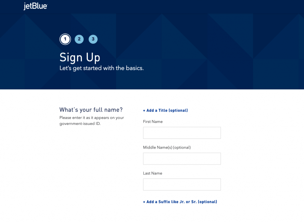 sign up form example language