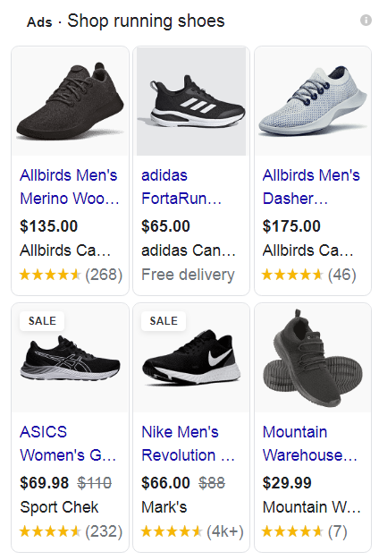 Google Shopping product listing for running shoes