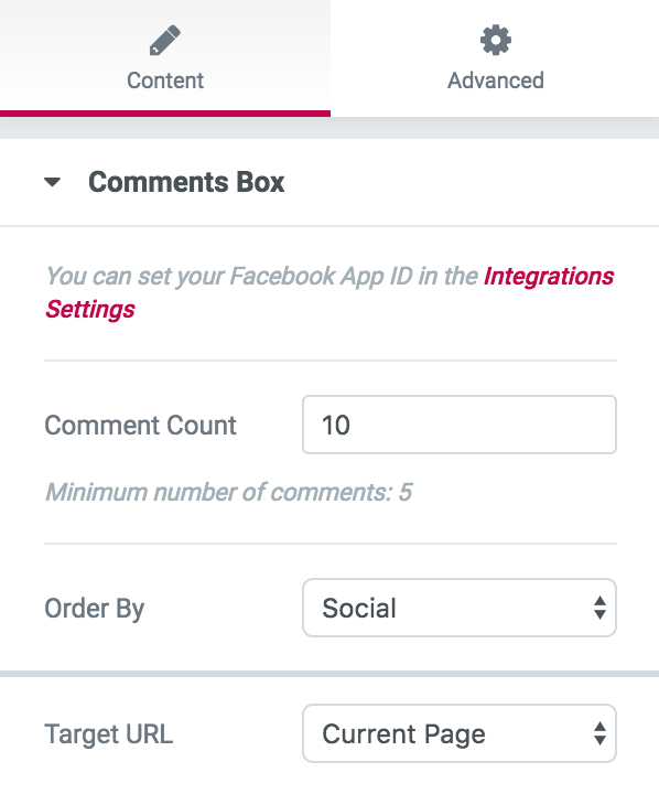 Facebook Comments settings