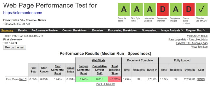 webpagetest-speed-test-results