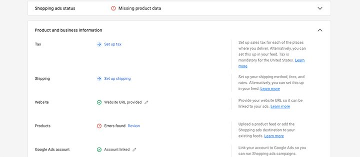 Inputting company and product details into Google Merchant Center