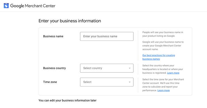 Entering business information in Google Merchant Center
