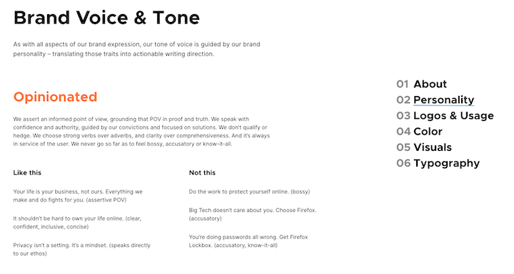 firefox voice and tone