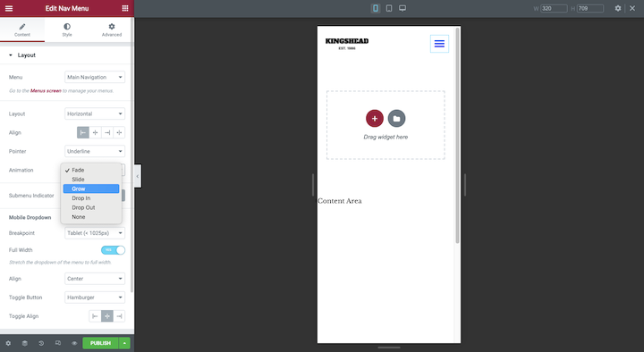 elementor-mobile-header-editing
