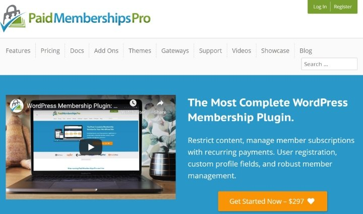 paid memberships pro's homepage