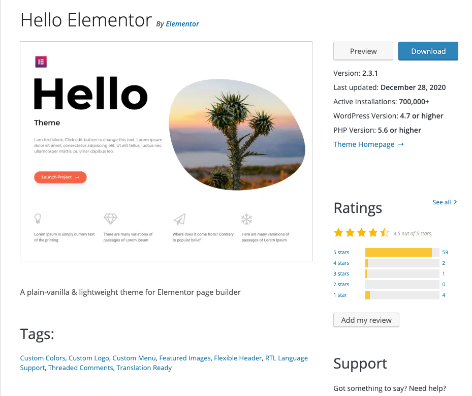 elementor hello theme