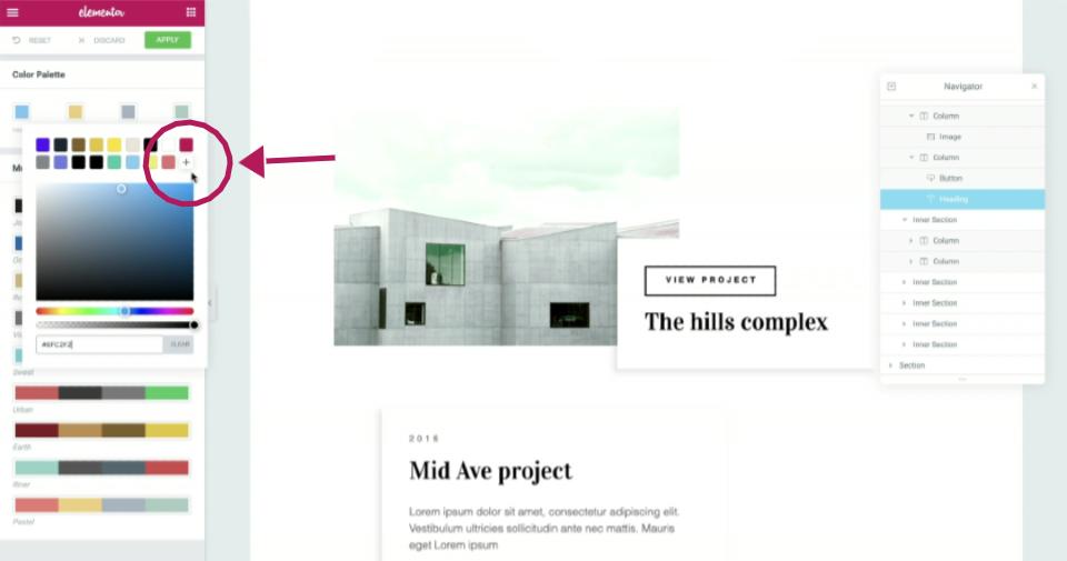 color picker web design elementor editor wordpress