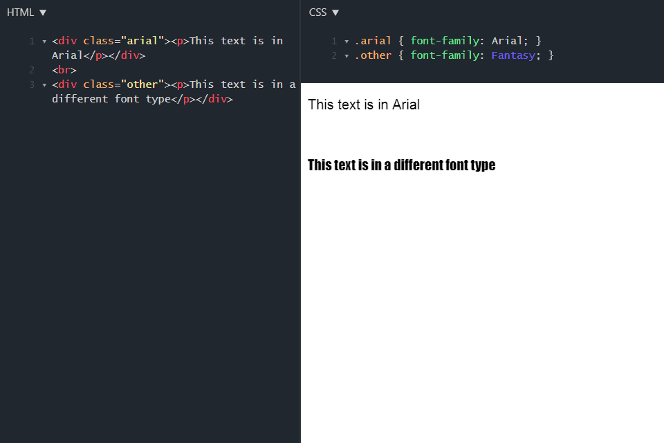 css font styling