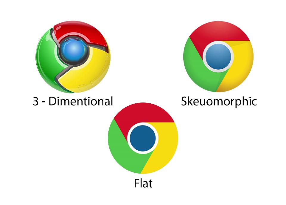 evolution google logo design minimalist skeuomorphic flat