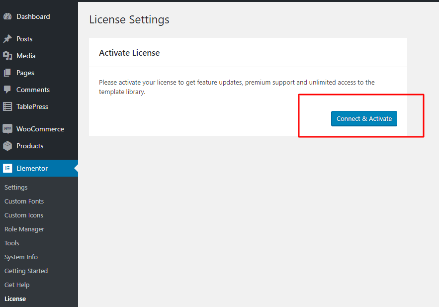 How to activate Elementor license