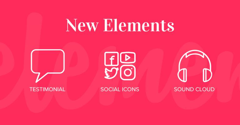New Elements: Testimonial, Social Icons, Sound Cloud