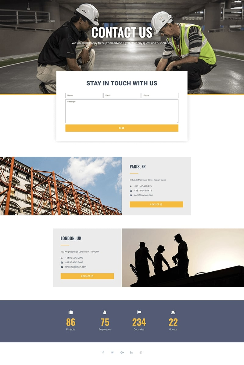 Construction Company Contact Page Template
