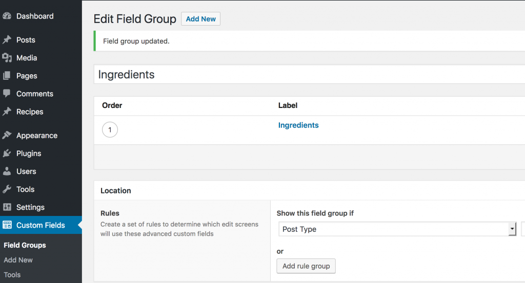 create custom fields with acf