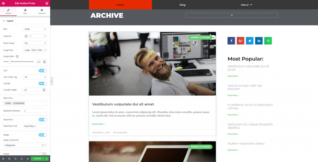 a screenshot of using the archive post block