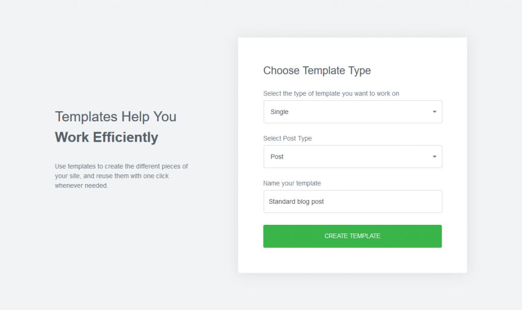 a screenshot of creating a new single template