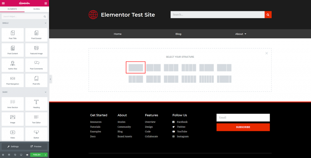 a screenshot of choosing a section