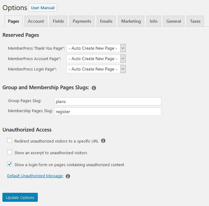 a screenshot of the memberpress options page