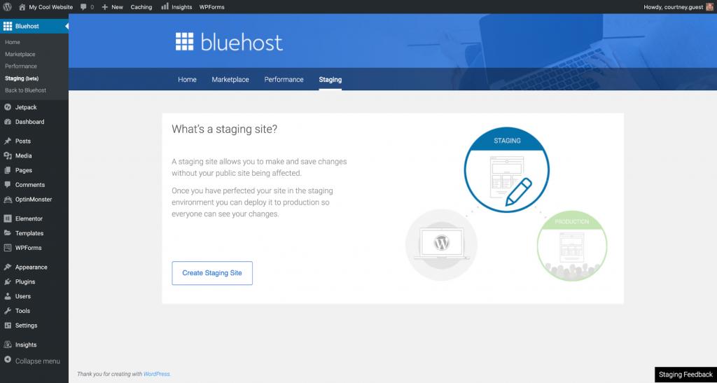 a screenshot of bluehost's dashboard