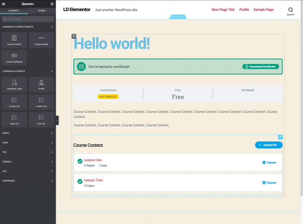 A preview of the LearnDash course template in Elementor
