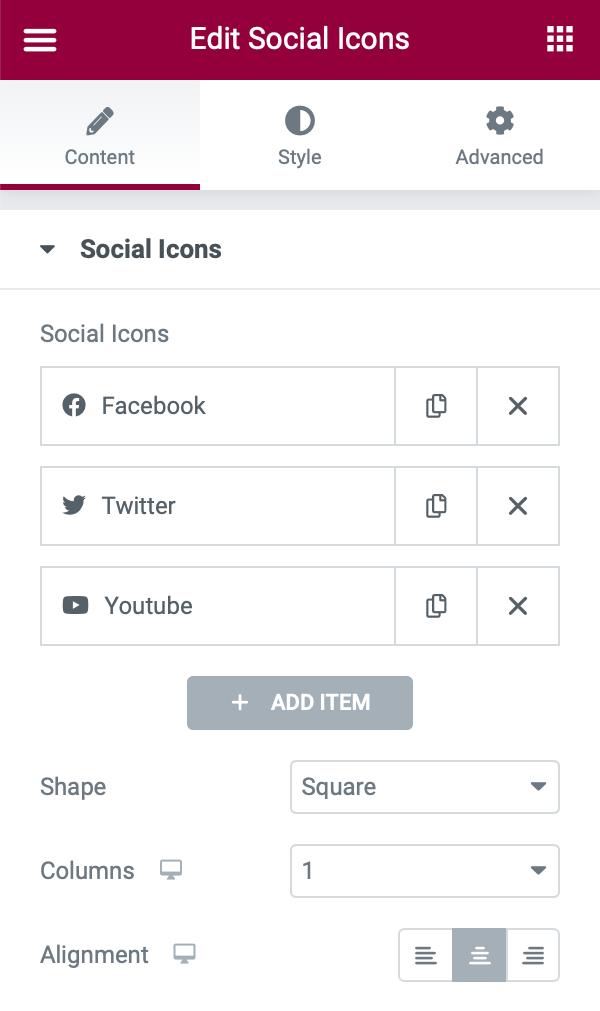 Social Icons Widget - Single Column