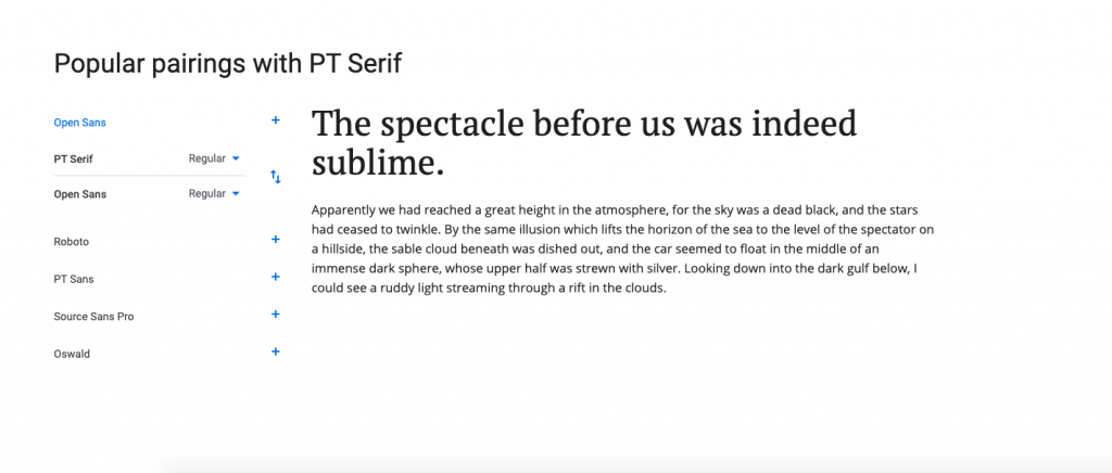 font pairing with PT serif